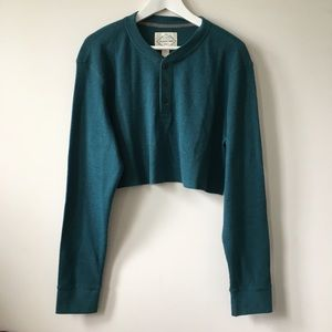 Vintage Sweaters - vintage Teal Henley Thermal Crop Oversized Sweater